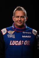 Jan 15, 2015; Jupiter, FL, USA; NHRA top fuel driver Richie Crampton poses for a portrait during preseason testing at Palm Beach International Raceway. Mandatory Credit: Mark J. Rebilas-USA TODAY Sports