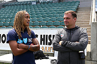 Cary, North Carolina  - Sunday May 21, 2017: Jessica McDonald and Rory Dames prior to a regular season National Women's Soccer League (NWSL) match between the North Carolina Courage and the Chicago Red Stars at Sahlen's Stadium at WakeMed Soccer Park. Chicago won the game 3-1.