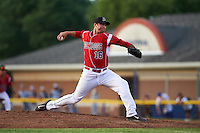 Batavia Muckdogs relief pitcher Chevis Hoover (16) during a game against the Brooklyn Cyclones on July 4, 2016 at Dwyer Stadium in Batavia, New York.  Brooklyn defeated Batavia 5-1.  (Mike Janes/Four Seam Images)