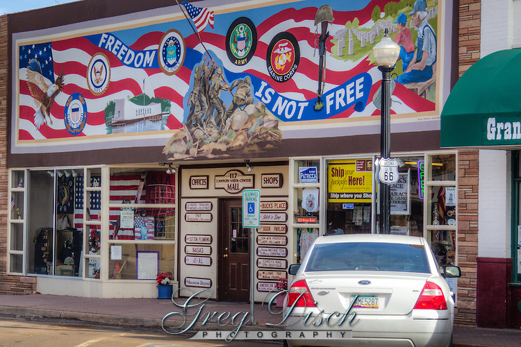"""Freedom is Not Free"" mural on the from of the Canyon Vista Center Mall in Williams Arizona on Route 66."