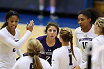 DURHAM, NC - SEPTEMBER 01: Northwestern's Symone Abbott (2), Lexi Pitsas (7), and Nia Robinson (18) huddle with teammates. The Northwestern University Wildcats played the University of South Carolina Gamecocks on September 1, 2017 at Cameron Indoor Stadium in Durham, NC in a Division I women's college volleyball match. Northwestern won 3-1 (13-25, 25-18, 25-18, 25-19).