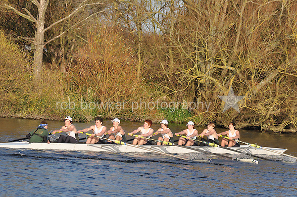 218 .KCH-Morrison .J16A.8+ .Kings Sch Chester. Wallingford Head of the River. Sunday 27 November 2011. 4250 metres upstream on the Thames from Moulsford railway bridge to Oxford University's Fleming Boathouse in Wallingford. Event run by Wallingford Rowing Club.