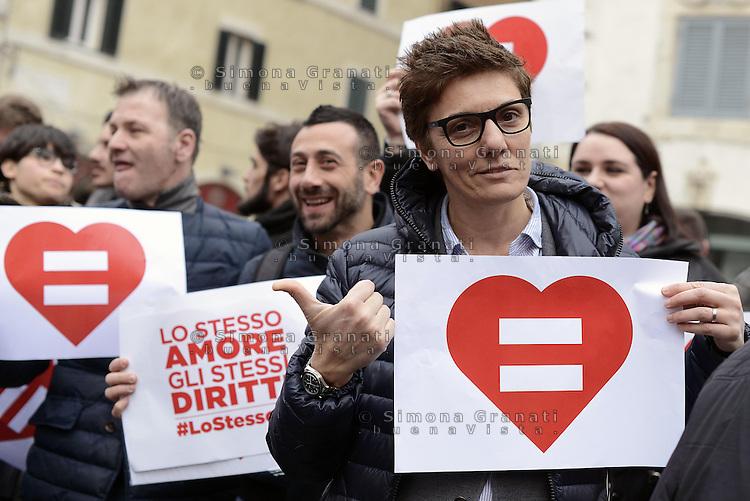 Roma, 14 Febbraio 2015.<br /> Piazza Farnese.<br /> Imma Battaglia.<br /> Manifestazione  a sostegno dei diritti civili per il diritto al matrimonio per le coppie omosessuali.<br /> Lo stesso amore, gli stessi diritti.