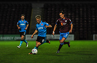 Fleetwood Town's midfielder Kyle Dempsey (8) runs by Scunthorpe Utd's defender/midfielder Josh Morris (11)during the Sky Bet League 1 match between Scunthorpe United and Fleetwood Town at Glanford Park, Scunthorpe, England on 17 October 2017. Photo by Stephen Buckley/PRiME Media Images