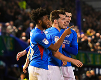 John Marquis of Portsmouth middle celebrates scoring his goal with provider Ellis Harrison of Portsmouth during Portsmouth vs Rotherham United, Sky Bet EFL League 1 Football at Fratton Park on 26th November 2019