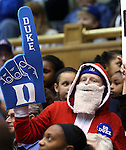 21 December 2014: A Duke fan dressed as Santa Claus. The Duke University Blue Devils hosted the University of Kentucky Wildcats at Cameron Indoor Stadium in Durham, North Carolina in a 2014-15 NCAA Division I Women's Basketball game. Duke won the game 89-68.