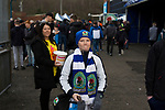 Blackburn Rovers 3 Shrewsbury Town 1, 14/01/2018. Ewood Park, League One. A fan walking round the ground before Blackburn Rovers played Shrewsbury Town in a Sky Bet League One fixture at Ewood Park. Both team were in the top three in the division at the start of the game. Blackburn won the match by 3 goals to 1, watched by a crowd of 13,579. Photo by Colin McPherson.