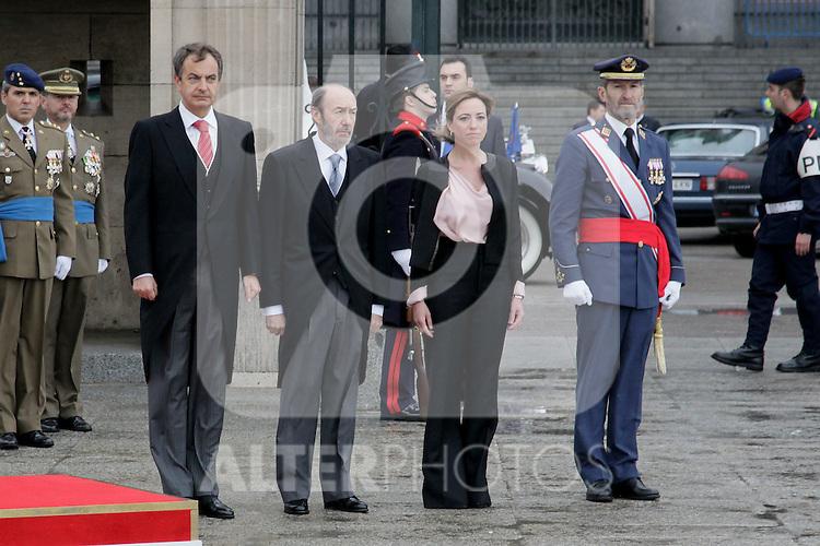 Military Christmas at Madrid Royal Palace. Alfredo Perez Rubalcaba, Jose Luis Rodriguez Zapatero and  Carme Chacon (Spain's president, vice president and Defense minister)..Photo: MAC / ALFAQUI