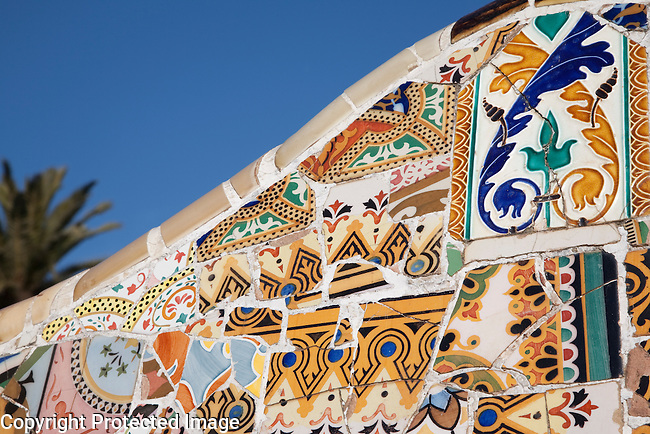 Tile Mosaic in Park Guell by Gaudi in Barcelona, Catalonia, Spain