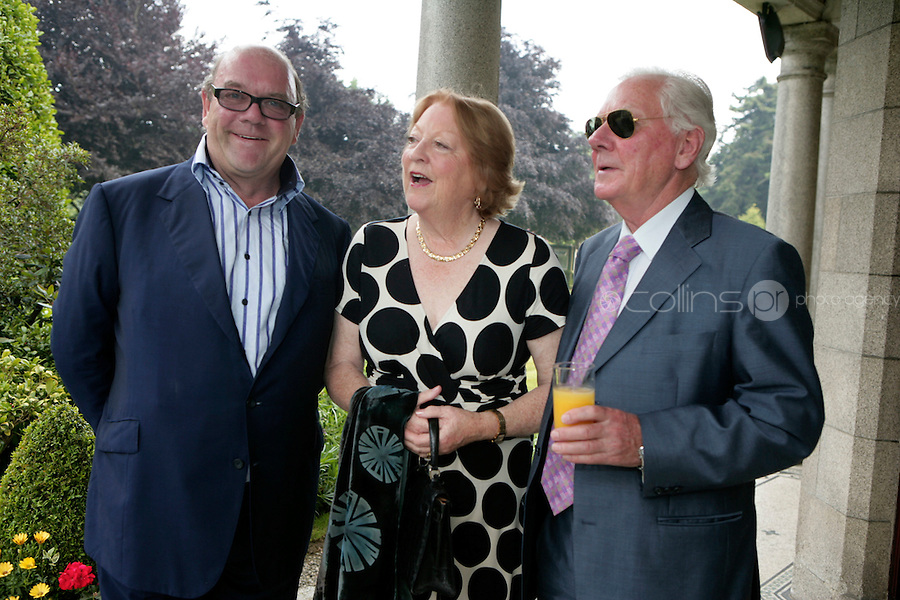 22/6/10 Paul McGuinness with Gay Byrne and his wife Kathleen at the British Amabassador's residence at Glencairn House in Sandyford, Dublin. Arthur Carron/Collins