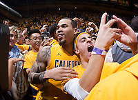 Justin Cobbs of California celebrates with the fans after winning the game against Arizona at Haas Pavilion in Berkeley, California on February 1st, 2014.  California Golden Bears defeated Arizona Wildcats, 60-58.