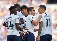 Son Heung-Min of Tottenham Hotspur celebrates scoring with his team mates during the Premier League match between Tottenham Hotspur and Crystal Palace at Wembley Stadium, London, England on 14 September 2019. Photo by Vince  Mignott / PRiME Media Images.