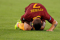 Calcio, Europa League: Roma vs Astra Giurgiu. Roma, stadio Olimpico, 29 settembre 2016.<br /> Roma&rsquo;s Juan Iturbe reacts after being injured during the Europa League Group E soccer match between Roma and Astra Giurgiu at Rome's Olympic stadium, 29 September 2016. Roma won 4-0.<br /> UPDATE IMAGES PRESS/Riccardo De Luca