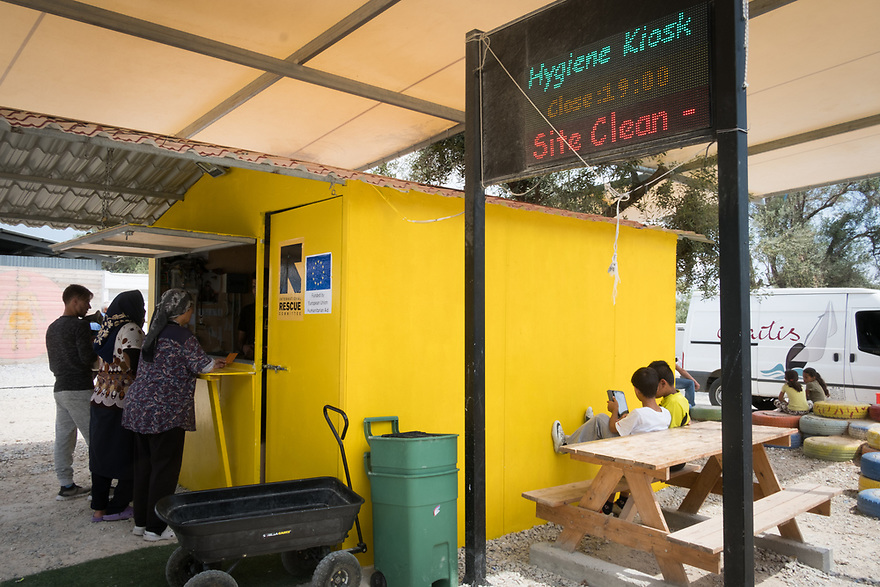 Mitch Moffit and Greg Brown, creators of ASAP Science YouTube Channel visit Kara Tepe Site on the Greek island of Lesvos, where hundreds of refugees are accommodated as they wait to their procedure. IRC's Hygiene Kiosk.