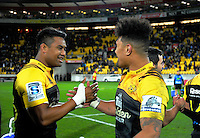 Julian and Ardie Savea celebrate after the Super Rugby semifinal match between the Hurricanes and Chiefs at Westpac Stadium, Wellington, New Zealand on Saturday, 30 July 2016. Photo: Dave Lintott / lintottphoto.co.nz