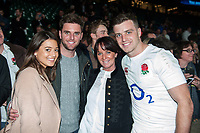 George Ford of England poses for a photo with his family after the match. RBS Six Nations match between England and Scotland on March 11, 2017 at Twickenham Stadium in London, England. Photo by: Patrick Khachfe / Onside Images