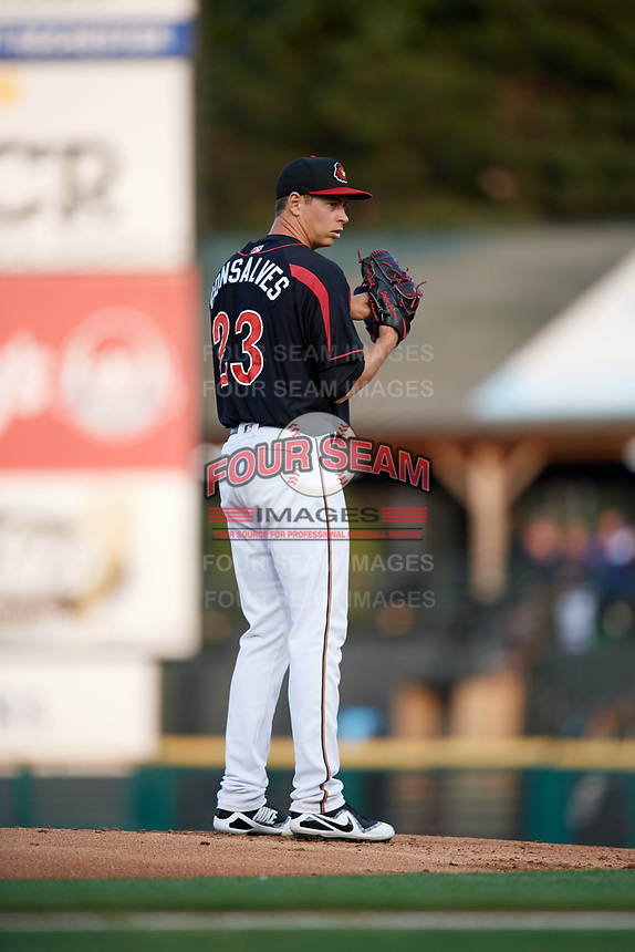 Rochester Red Wings starting pitcher Stephen Gonsalves (23) gets ready to deliver a pitch during a game against the Buffalo Bisons on August 25, 2017 at Frontier Field in Rochester, New York.  Buffalo defeated Rochester 2-1 in eleven innings.  (Mike Janes/Four Seam Images)