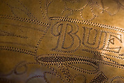 Detail of a BBb Tuba from Buescher, manufactured in Elkhart, Indiana circa 1942, on display at the Tuba Exchange in Durham, N.C.