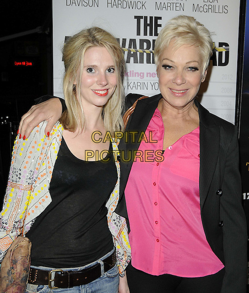 Sadie Pickering & Denise Welch.attended the 'The Awkward Squad' press night, The Arts Theatre, Great Newportl St., London, England, UK, .March 8th 2012..half length pink shirt black jacket trousers jeans arm around yellow print top .CAP/CAN.©Can Nguyen/Capital Pictures.