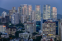 INDIA, Mumbai, illuminated windows of skyscraper in suburb Goregoan