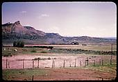 Locomotive hauling coaches - excursion train - east of Durango.<br /> D&amp;RGW  e. of Durango, CO
