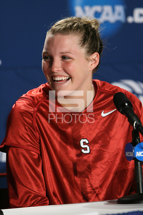 29 March 2008: Jayne Appel addresses the media after Stanford's 72-53 win over Pitt in the sweet sixteen game of the NCAA Division 1 Women's Basketball Championship in Spokane, WA.