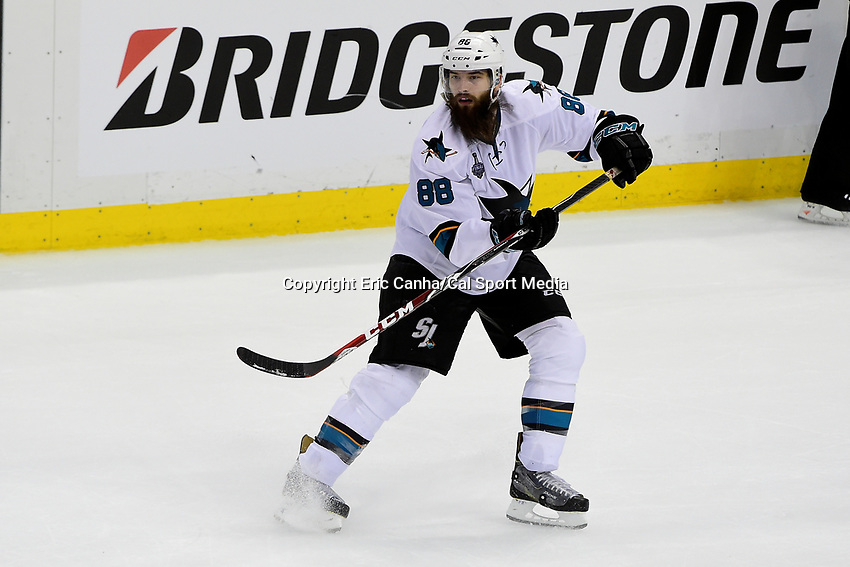Wednesday, June 1, 2016: San Jose Sharks defenseman Brent Burns (88) in game action during game 2 of the NHL Stanley Cup Finals  between the San Jose Sharks and the Pittsburgh Penguins held at the CONSOL Energy Center in Pittsburgh Pennsylvania. The Penguins beat the Sharks in overtime 2-1 and lead the best of 7 series 2-0. Eric Canha/CSM