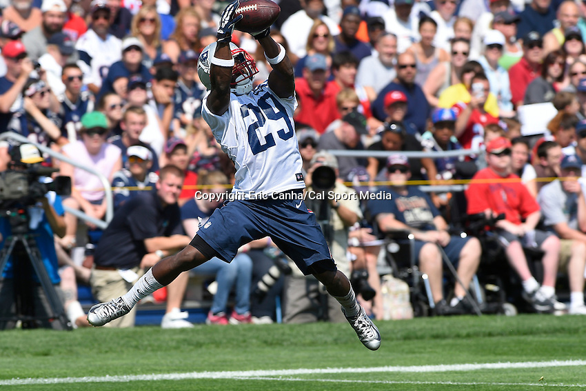 July 25, 2014 - Foxborough, Massachusetts, U.S.- New England Patriots running back Roy Finch (29) makes a leaping catch during the New England Patriots training camp held at Gillette Stadium in Foxborough Massachusetts.  Eric Canha/CSM