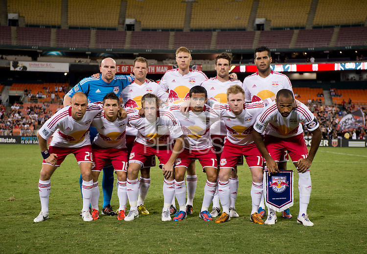The New York Red Bulls line up before the game at RFK Stadium in Washington, DC.  D.C. United tied the New York Red Bulls, 2-2.