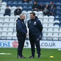 Preston North End's First Team Coach Frankie McAvoy (left) and First Team Coach Steve Thompson during the pre-match warm-up <br /> <br /> Photographer Stephen White/CameraSport<br /> <br /> The EFL Sky Bet Championship - Preston North End v Hull City - Wednesday 26th December 2018 - Deepdale Stadium - Preston<br /> <br /> World Copyright &copy; 2018 CameraSport. All rights reserved. 43 Linden Ave. Countesthorpe. Leicester. England. LE8 5PG - Tel: +44 (0) 116 277 4147 - admin@camerasport.com - www.camerasport.com