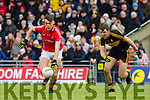 David Clifford, East Kerry in action against Michael Moloney, Dr Crokes  during the Kerry County Senior Club Football Championship Final match between East Kerry and Dr. Crokes at Austin Stack Park in Tralee, Kerry.