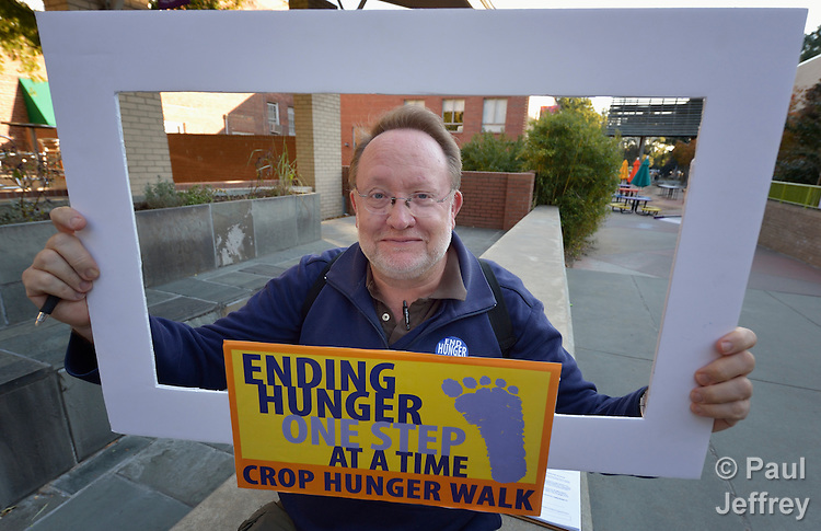Chris Herlinger, a journalist with Church World Service, poses for a photo after the CROP Hunger Walk, held October 27, 2013, in Raleigh, North Carolina.