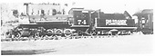RGS 2-8-0 #74 with passenger car.<br /> RGS