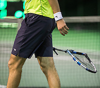 Rotterdam, Netherlands, 12 februari, 2017, ABNAMROWTT,  Qualyfying final Jan-Lennard Struff (GER) breaks his racket out of frustration<br /> Photo: Henk Koster