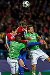 Atletico de Madrid's Diego Godin, Jose Maria Gimenez and PSV Eindhoven's Nicolas Isimat-Mirin Daniel Schwaab  during the Champions League match between Atletico de Madrid and PSV Eindhoven at Vicente Calderon Stadium in Madrid , Spain. November 23, 2016. (ALTERPHOTOS/Rodrigo Jimenez)