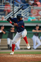 Lowell Spinners Antoni Flores (19) at bat during a NY-Penn League game against the Batavia Muckdogs on July 10, 2019 at Dwyer Stadium in Batavia, New York.  Batavia defeated Lowell 8-6.  (Mike Janes/Four Seam Images)