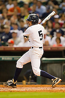 Christian Stringer #5 of the Rice Owls follows through on his swing against the Texas Longhorns at Minute Maid Park on March 2, 2012 in Houston, Texas.  The Longhorns defeated the Owls 11-8.  (Brian Westerholt/Four Seam Images)