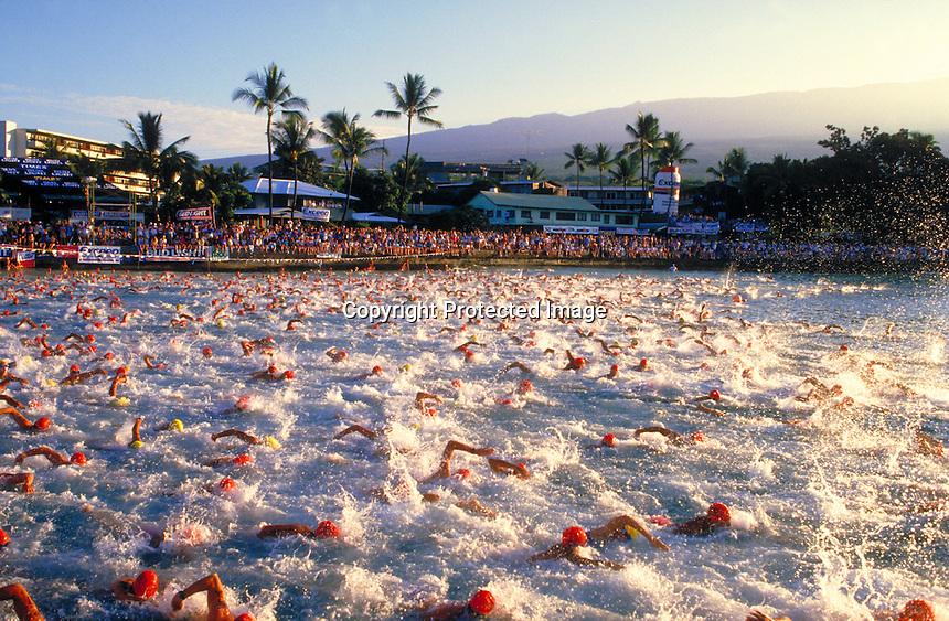 Start of Ironman Triathlon, Kona, Hawaii.Photo by Chris Covatta