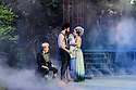 "London, UK. 28.06.19. Regent's Park Open Air Theatre presents ""A Midsummer Night's Dream"", by William Shakespeare, Directed by Dominic Hill, with design by Rachael Canning, lighting design by Ben Ormerod, and movement direction by Emily-Jane Boyle. The cast is: Remy Beasley (Helena), Gabrielle Brooks (Hermia), Liz Crowther (Starveling), Michael Elcock (Lysander), Kieran Hill (Theseus/Oberon), Amber James (Hippolyta/Titania), Matthew James Hinchcliffe (Fairy/Musician), Myra McFadyen (Puck), Lee Mengo (Snout), Joshua Miles (Flute), Pierro Niel-Mee (Demetrius), Tomi Ogbaro (Snug/Musician), Simon Oskarsson (Fairy/Musician), Yana Penrose (Fairy), Emily Rose-Salter (Fairy), Gareth Snook (Egeus/Quince), Susan Wokoma (Bottom). Photograph © Jane Hobson."