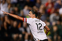Portland Thorns forward Christine Sinclair (12) celebrates scoring. The Portland Thorns defeated the Western New York Flash 2-0 during the National Women's Soccer League (NWSL) finals at Sahlen's Stadium in Rochester, NY, on August 31, 2013.