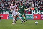 15.04.2018, Weser Stadion, Bremen, GER, 1.FBL, Werder Bremen vs RB Leibzig, im Bild<br /> <br /> Bernardo (RB Leipzig #03)<br /> <br /> #Max Kruse (Werder Bremen #10)<br /> Willi Orban (RB Leipzig #04)<br /> <br /> Foto &copy; nordphoto / Kokenge