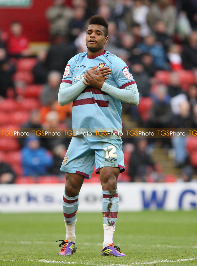 Ricardo Vaz Te acknowledges the Barnsley fans after scoring the 4th goal for West Ham - Barnsley vs West Ham United, npower Championship at Oakwell Stadium, Barnsley - 06/04/12 - MANDATORY CREDIT: Rob Newell/TGSPHOTO - Self billing applies where appropriate - 0845 094 6026 - contact@tgsphoto.co.uk - NO UNPAID USE.