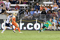Houston, TX - Saturday July 15, 2017: Rachel Daly, Stephanie Labbé during a regular season National Women's Soccer League (NWSL) match between the Houston Dash and the Washington Spirit at BBVA Compass Stadium.