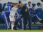 Eden Hazard of Chelsea is given instructions by Jose Mourinho manager of Chelsea before leaving the game injured - English Premier League - Leicester City vs Chelsea - King Power Stadium - Leicester - England - 14th December 2015 - Picture Simon Bellis/Sportimage