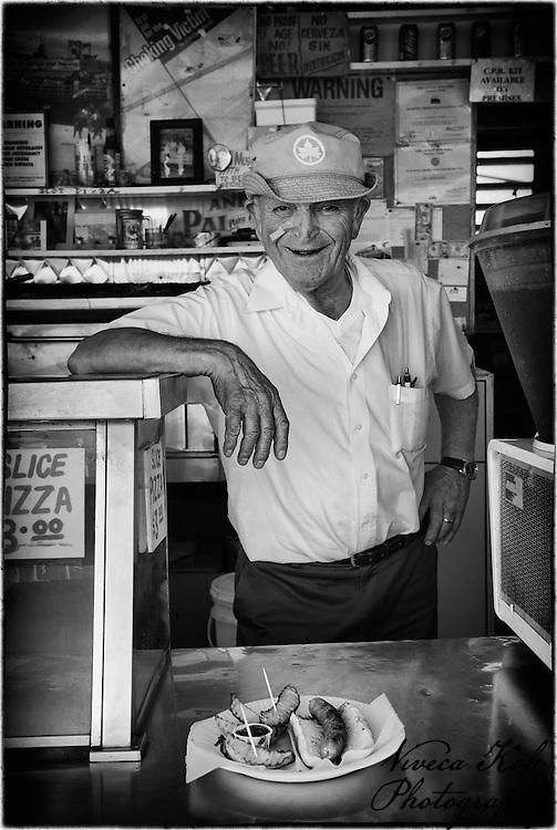 The owner of 'Paul's Daughter' boardwalk diner, Coney Island, Brooklyn NYC