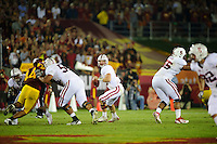 LOS ANGELES, CA - October 29, 2011:  Andrew Luck during play against USC at the LA Coliseum in Los Angeles, CA.  Stanford won in triple overtime, 56 -48, and extended its winning streak to 16 games.