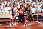 Elisávet PESIRÍDOU (GRE, left) and Lindsay LINDLEY (NGR) dip for the line in the womens 100m hurdles heats. IAAF world athletics championships. London Olympic stadium. Queen Elizabeth Olympic park. Stratford. London. UK. 11/08/2017. ~ MANDATORY CREDIT Garry Bowden/SIPPA - NO UNAUTHORISED USE - +44 7837 394578