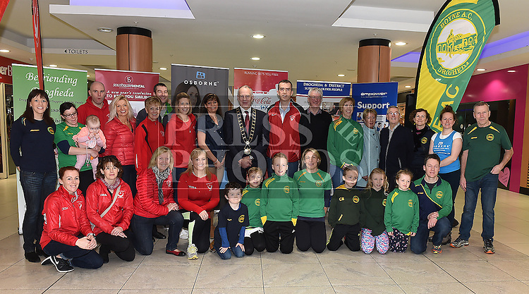 Members of Boyne AC and Drogheda and District AC with Mayor of Drogheda Oliver Tully, Siobhan Shortt Coca Cola, Dave Turner Drogheda and District Support For Older People at the launch of The Boyne 10K 2017 in The Laurence Centre. Photo:Colin Bell/pressphotos.ie