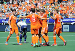 The Hague, Netherlands, June 13: Mink van der Weerden #30 of The Netherlands is congratulated by teammates after scoring the winning goal during the field hockey semi-final match (Men) between The Netherlands and England on June 13, 2014 during the World Cup 2014 at Kyocera Stadium in The Hague, Netherlands. Final score 1-0 (1-0)  (Photo by Dirk Markgraf / www.265-images.com) *** Local caption *** Robbert Kemperman #12 of The Netherlands, Sander Baart #13 of The Netherlands, Mink van der Weerden #30 of The Netherlands, Constantijn Jonker #27 of The Netherlands, Sander de Wijn #23 of The Netherlands