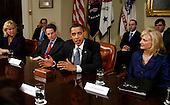 Washington, DC - March 16, 2009 -- United States President Barack Obama meets in the Roosevelt Room of the White House with members of Congress and small business leaders regarding the $375 billion Congress will be funneling to small business, Monday, March 16, 2009. Flanking the president are Treasury Secretary Timothy Geithner (left) and Cynthia Blankenship, co-founder of Bank of the West (right). At far left is Sen. Mary Landrieu. (D-LA)..Credit: Martin H. Simon / Pool via CNP